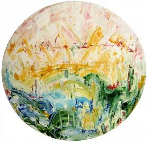 peinture sur toile ronde