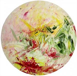 oeuvre sur toile ronde , monde semi abstrait